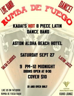 Kauai's Hot 8 Piece Latin Dance band
